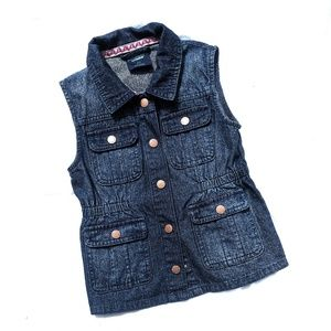 Genuine Kids girls denim vest pockets snaps